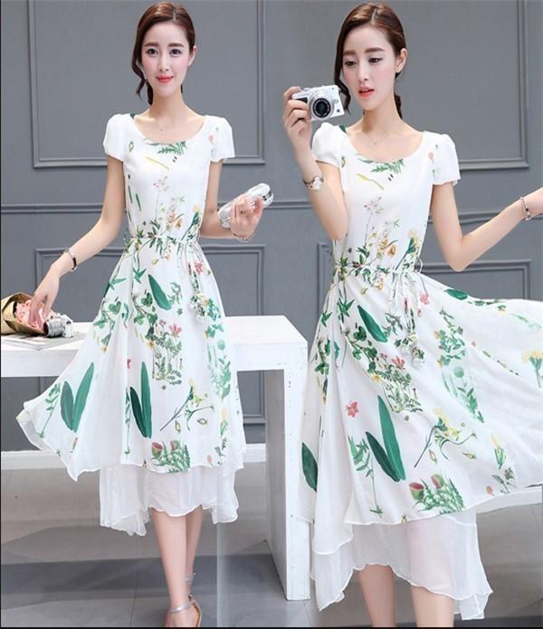 レディースワンピース 韓国無地 スリム 韓国のファッション  ロングスカート 丸首  半袖シフォンワンピース  ハイウエストワンピース  プリントワンピース  ハイセンス 着心地いい おしゃれ 夏 ス