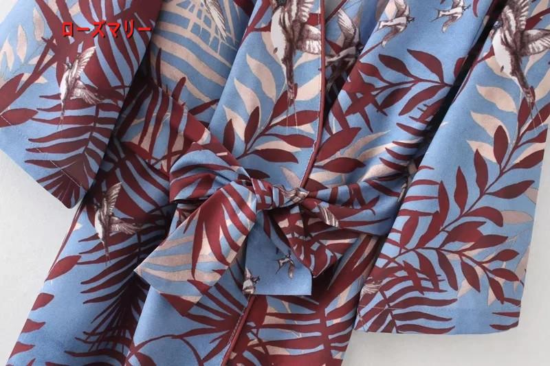 【ローズマリー】欧米2018春季新型棕櫚葉小鳥プリントのVネックレースワンピース着物ベルト プリント ヴィンテージ調  ベーシック-R1029