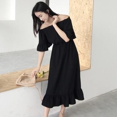 韓国 首輪 肩なし 単一色 ルース 着やせ 中長デザイン 女 夏 ハイウエスト 短袖 ワ
