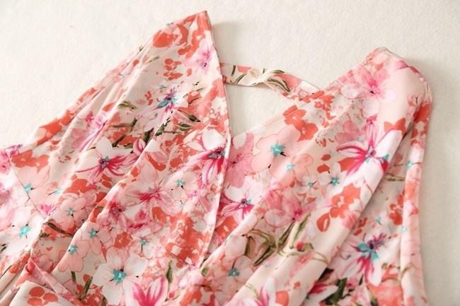 ワンピース レディース ひざ丈 ミディアム丈 5分袖 半袖 ベルスリーブ フレア ワンピ 花柄 フラワー ピンク