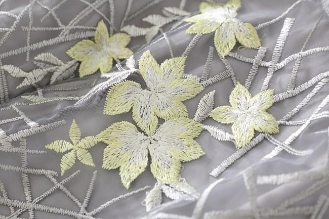 ワンピース レディース ノースリーブ 膝丈 シフォン 春夏 夏 花 刺繍 シフォンワンピース シフォンワンピ グレー