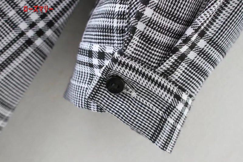 【ローズマリー】欧米風2018春チェックのシャツ式ワンピース女子コーデにゆったり着やせ長袖ミニスカート チェック柄 シャツ 長袖ワンピース ヴィンテージ調-QQ5114