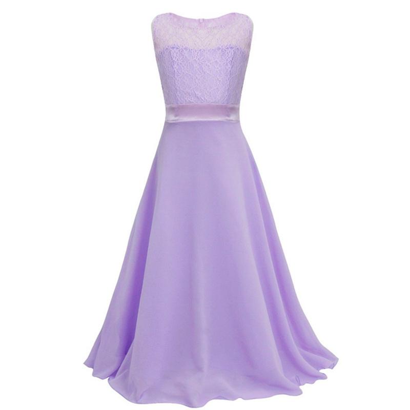 ゴージャスな花ガールズレースドレス結婚式パーティープリンセス床長さフォーマルドレスガールティーンエイジャー