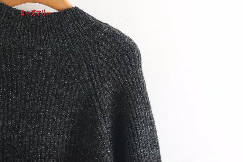【ローズマリー】欧米で女装2017秋冬新型ゆったりロングニットワンピースをセーター 長袖ニットワンピース Vネック  ベーシック 大人気-QQ5806