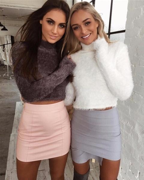 6色女性ファッションウィンターソフトファジーモヘアハイカラーセータースエットシャツクロップトップ