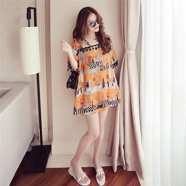 レディースワンピース 韓国無地 スリム 韓国のファッション 上品 五分袖 フリンジワンピース  プリントワンピース ハイセンス 着心地いい おしゃれ 夏 スリム セール★ レディースワンピース