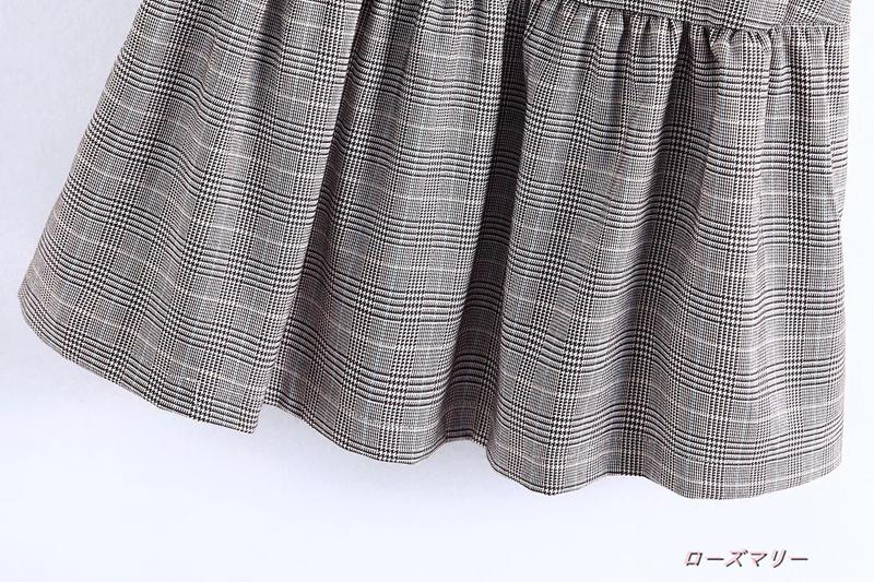 【ローズマリー】欧米帯飾り格子ワンピーススカート チェック柄 フィットスタイル ヴィンテージ調-QQ3268