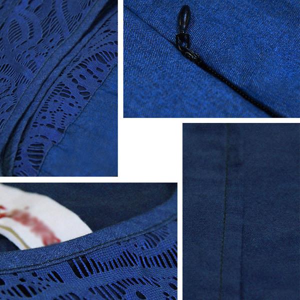 オリジナルデザイン Aライン ミモレ丈 ノースリーブ 異素材MIX レース デニムワンピース(透け素材/ウエストマーク/デニム生地) 送料無料 3サイズS M L gf122
