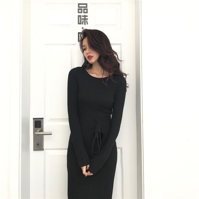 秋冬 新作 ニットワンピ♡モヘアパフスリーブのVネックニットワンピース
