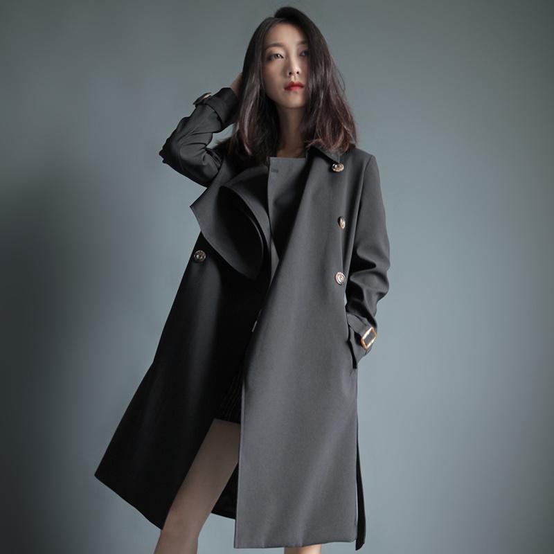 秋2017新しい韓国のファッションコートの女性は、ウインドブレーカーの長いセクションで緩い膝のコート