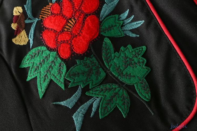 欧米風 花刺繡入り 長袖シャツワンピース レディース  着やせ ミニワンピース 体型カバーになる