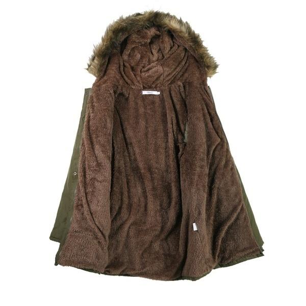 最新の女性のカジュアルフード付き暖かい冬の巾着ウエストソリッドルーズコートフリースライニングパーカーコート
