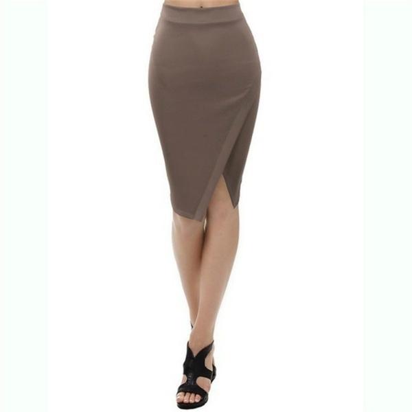 ファッションA utumnレディースミッドレングススプリットラップスタイルペンシルスカート