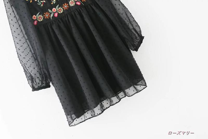 【ローズマリー】欧米2017秋新型民族風刺繍のワンピース女ゆったりスカート网纱スカートを スイート 花柄  高品質 刺繍レース かわいい -QQ2112