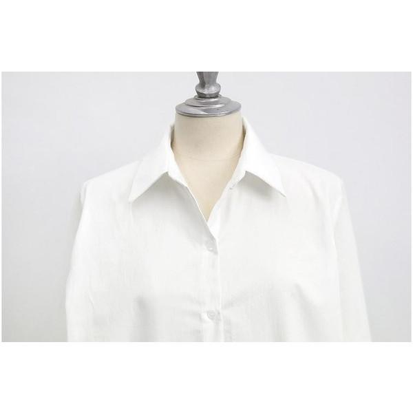 ワンピース チュニック ひざ丈 長袖 ミディアム 襟付き シャツワンピース 春夏 さわやか 無地 ホワイト 清潔感 羽織