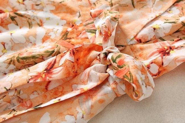 ワンピース レディース 半袖 ロング ロング丈 ロングワンピース カシュクール オレンジ 夏 花柄 リボン 夏 フラワー