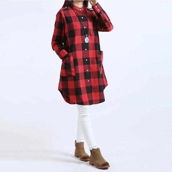 プラスサイズS  -  5XLヴィンテージレディースファッションロングスリーブ秋のドレスBaggyブラウストップスチェックチェックロングS