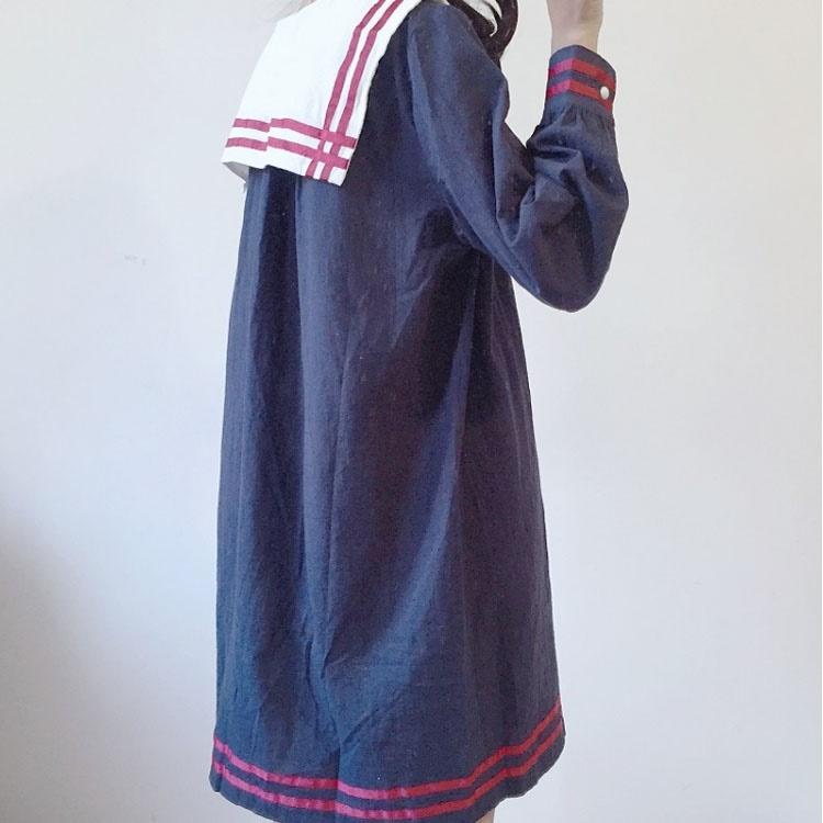 ワンピース マリン風 セーラー風ワンピース セーラー ワンピース セーラー服 ワンピ 長袖 セーラーカラー セーラー衿 onepiece ふんわり リ