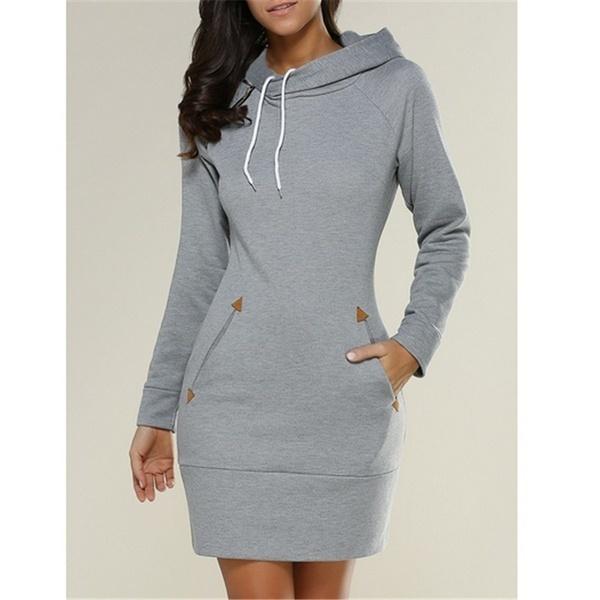 ファッションカジュアルフード付きタートルネック長袖セータードレス5色、サイズ8