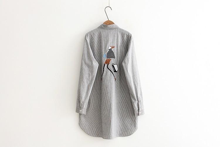 vivishow 送料無料 2017新作 シャツワンピ レディース 刺繍 長袖 ストライプ柄 ワンピース ロングシャツ オーバーブラウス プルオーバートップス