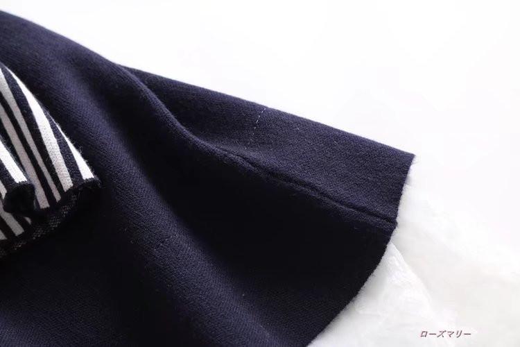 【ローズマリー】秋冬の新品小詰め襟ゆったり2017でロング切り替えストライプ袖フェイクレイヤード下地ワンピース ニットワンピース  ベーシック フィットスタイル-QQ3091