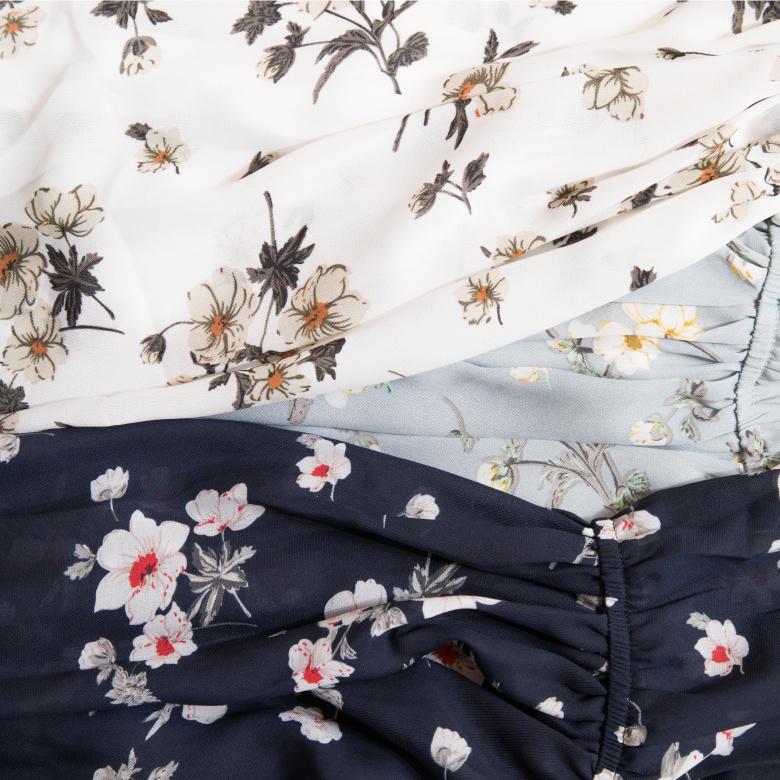 2017春夏 新入荷 ワンピース 大人コーデ ゆるふわ かわいい キュート コーデいろいろ これからの季節に 花柄 全3色 レディース  ベーシック 大人 ホワイト ライトブルー ネイビー #STYL