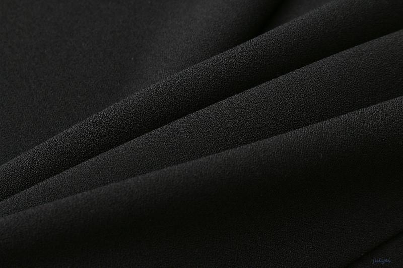 欧米風レディース2017秋新品 7分袖 スリーブフレア レースドッキングワンピース ブラック 無地 ミニワンピース 着やせ
