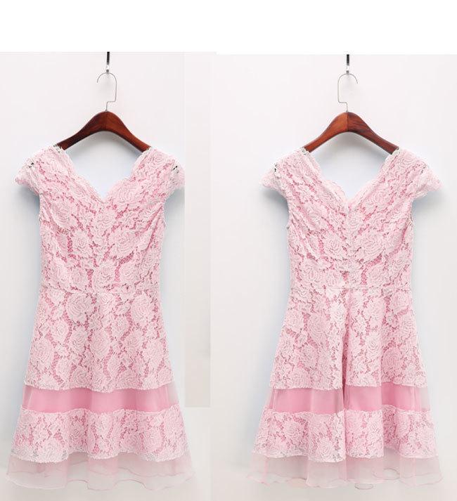 レース ワンピース レディースドレス 透かし彫り スカートチュール 韓国ファッション 気質修身  オシャレ 高級でセクシーなドレス 刺繍フォーマルドレス パーティードレス 高品質 大きいサイズ 可愛い