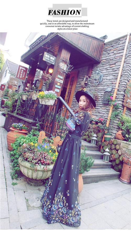 [55555SHOP]レディース 新作 ワンピース ドレス プリント 砂浜 民族風 上品 マキシワンピース