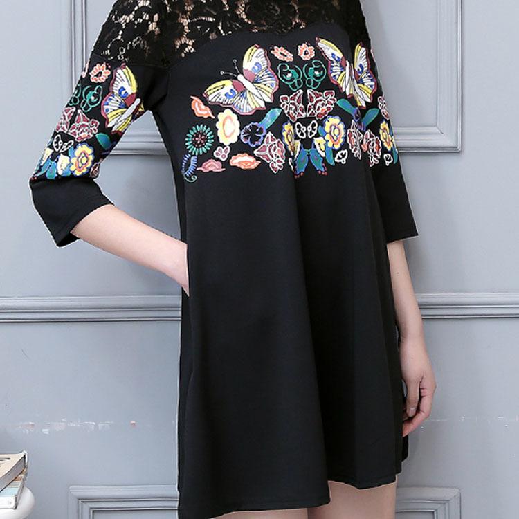ワンピースレディースチュニック五分袖ショート丈チュニックワンピース刺繍柄プリント花柄L-5XL女性かわいいチュワンピース