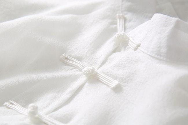 ワンピース レディース ノースリーブ ひざ丈 ミディアム丈 チャイナドレス フレア 刺繍 ホワイト 白 夏