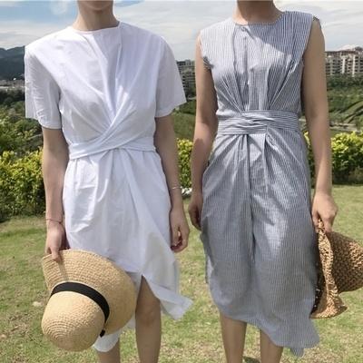 韓国 個性 クロス 包帯 丸襟 ルース レジャー 中長デザイン 女 夏 短袖 ワンピース