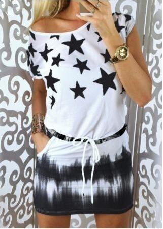 ファッション女性の星プリント半袖弾性ウエストショートドレスS  -  XXL