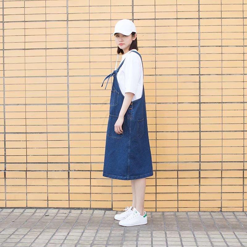 新入荷!デニムワンピース 韓国ファッション ロングワンピース バーカーとTシャツと組み合わせて可愛い 春秋