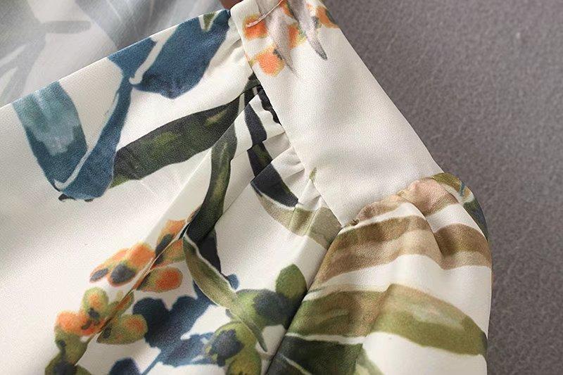 欧米風2017夏ファッション百搭Vネック半袖新型結び飾りプリント修身ワンピーススカート女性潮