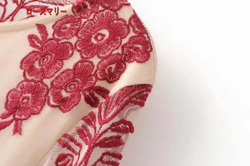 【ローズマリー】欧米2018春季新型ゆったり長袖着やせハイウエスト全刺繍网纱スカートのワンピース 刺繍レース 長袖ワンピース ヴィンテージ調-QQ5968