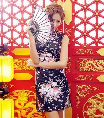 カラフル花柄サイドハイベンツスタンドカラーチャイナドレス