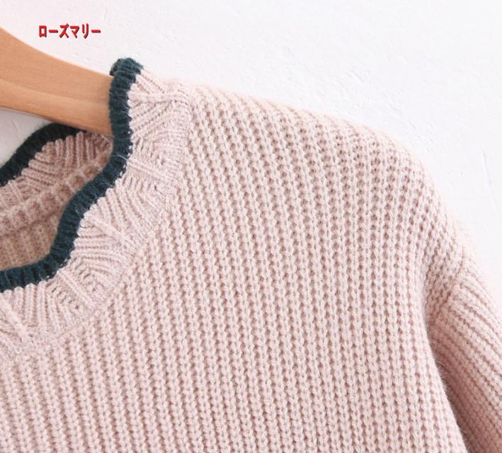 【ローズマリー】冬服新型韓版をシルク切替セーターを着やせパフスリーブのニットワンピース  長袖ニットワンピース  メリヤス かわいい ニットセーター  ベーシック-QQ5782