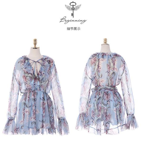 レディース ワンピース 新作 シフォン 花柄 パーティー ファッション OL ドレス
