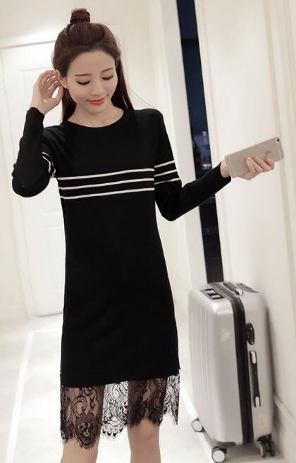[55555SHOP]2017上品シャーリングディテールも可愛い♪/大人可愛いワンピース/韓国ファッション ニットワンピ