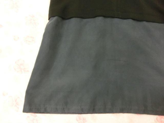 grove/グローブ 7分袖 丸首 ひざ丈 ワンピース M ダスティブルー×ブラック【中古】