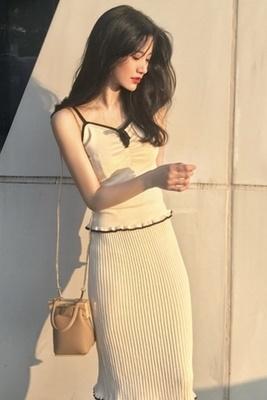 韓国/ファッション/セット/リボン/キャミソール/トップス/ニッティング/ ヒップカバー/スカート/女/夏/2点セット