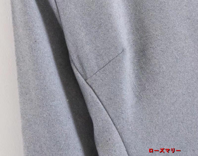 【ローズマリー】小詰め襟灰色ラシャワンピース女秋冬欧米風新品背中ファスナー着やせAラインスカート 長袖ワンピース  ベーシック フィットスタイル ヴィンテージ調  ベーシック-QQ4267