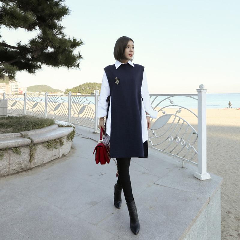 SET-UP♥大ヒット商品超特価♥韓国ファッション女性服1位『VIVARUBY』♥ロング丈シャツ ニットベストワンピース セットアップ♥最高級品質♥送料無料