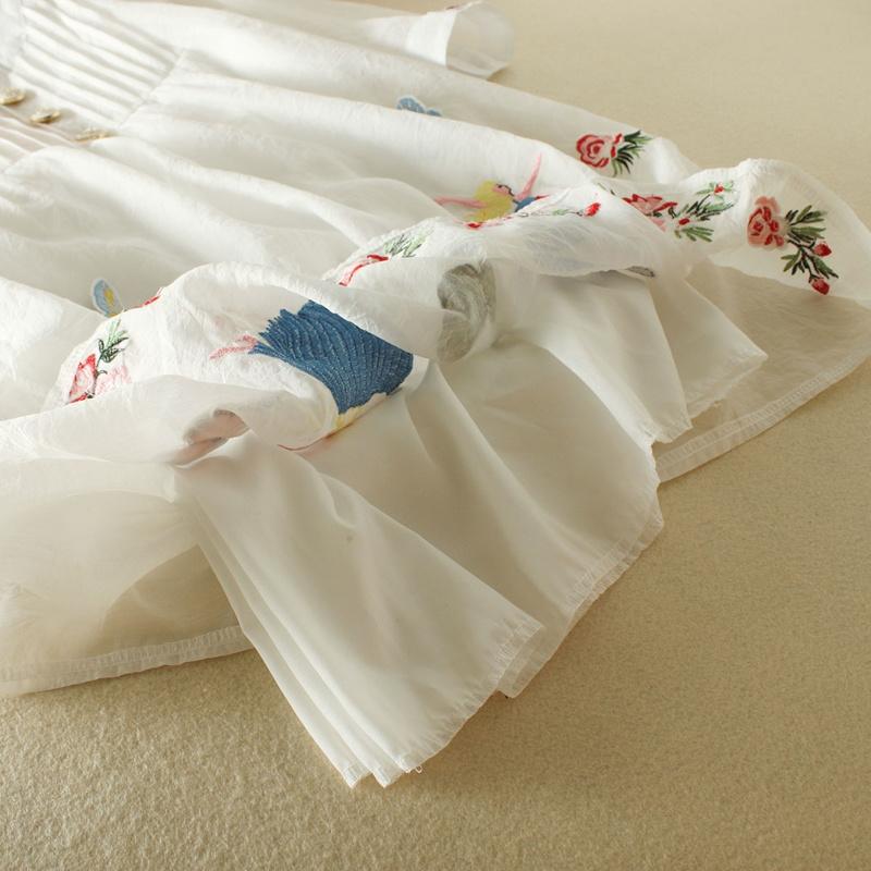 レディース  ワンピース 膝丈 刺繍柄 スカート