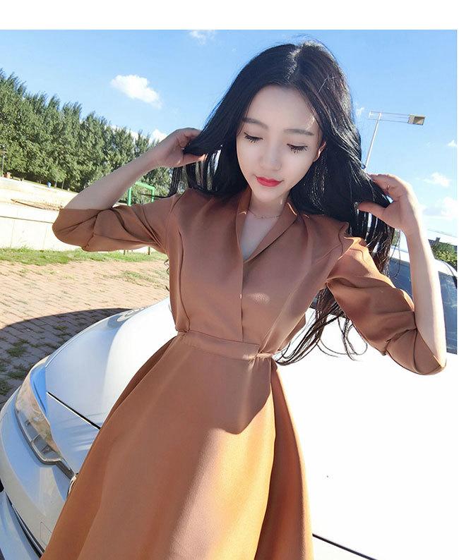 夏日新作レディースワンピース Vネックドレス   長袖ゆったりワンピース 体のラインが美しい 優良品質の材料 柔らかい 誰にも似合う Vネックドレス