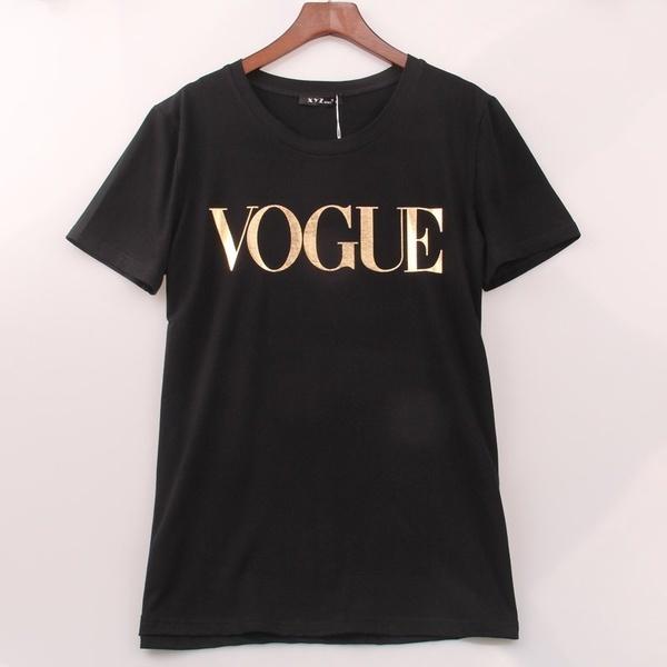 レディースファッションVOGUEプリントプラスサイズカジュアルTシャツトップス