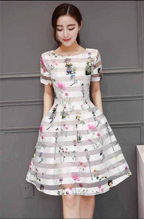 レディースワンピース 韓国無地 スリム 韓国のファッション  ロングスカート 丸首半袖ワンピース  ストライプ ハイウエストワンピース  プリントワンピース  ハイセンス 着心地いい おしゃれ 夏 ス