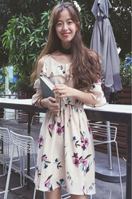 夏服 新品 韓国風 フリル 肩なし フローラル スリング シフォン ワンピース  女 ル