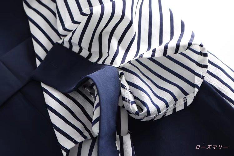 【ローズマリー】2017新型韓版秋服新型ワンピースクルーネック切り替えストライプ長袖腰偽2件の短いスカート ヴィンテージ調  ベーシック 大人気-QQ3489